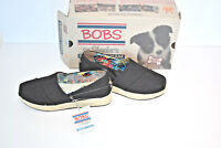 New Bob's from Skechers High Jinx Espadrille Wedge Shoes Black NIB