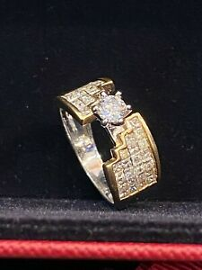 Pave 1.52 Cts Round Princess Cut Diamonds Wedding Solitaire Ring In 585 14K Gold