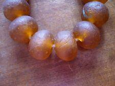 5 Altglasperlen Bodom 25 mm honig/amber - Recycled Glass Beads Ghana Krobo