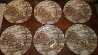 Franciscan Staffordshire Brown Coaching Days England Bread&Butter Dessert Plates