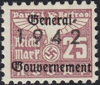 Stamp Germany Revenue Poland WWII 1942 3rd Reich War Era Party Dues GG 0025 MNH
