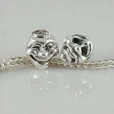 TEATRO COMMEDIA Tragedia Maschera Viso - 2-Solido 925 argento Sterling Charm Bead Europeo