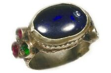 Antique 18thC Crimean Tatar Sapphire Blue Glass Genuine Ruby+Zircon Accents Sz9