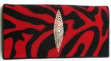 Genuine Stingray Leather Wallet, Black/Red Stingray Wallet, Red Stingray Wallet