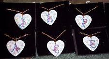 """AVON HEART NECKLACE PORCELAIN SET TWO 2:CHOICE= A,C,D,E,G,J,L,R,V :CHAIN 24"""" L"""
