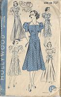 "1940s Vintage Sewing Pattern B38"" DRESS, HOUSE or BEACHCOAT (R552)"