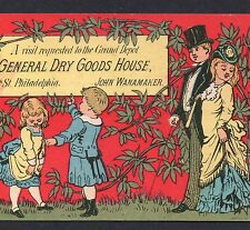 c. 1877 John Wanamaker Grand Depot Dry Goods House store ADVERTISING TRADE CARD