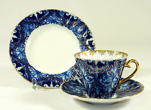 LOMONOSOV - Gedeck KAFFEEGEDECK Kaffeetasse - GLÜCKSVOGEL - Kobalt-Blau Gold
