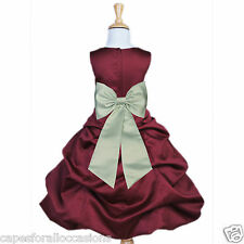 NEW FLOWER GIRL DRESS CHRISTMAS HOLIDAY PAGEANT BURGUNDY RED 2 4 6 8 10 12 14 16