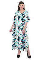 Women's Tunic Swimwear Kaftan Kimono Sleeve Cotton Floral Cover Up Casual Dress