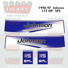 1996-97 Johnson 115 HP SPL V4 Outboard Reproduction 4Pc Marine Vinyl Decals 1997