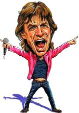 The Rolling Stones-Mick Jagger Caricature Sticky Fingers Rock Sticker or Magnet