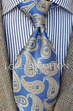 Lord R Colton Studio Tie - Stone Blue & Gold Paisley Woven Necktie - $95 Retail