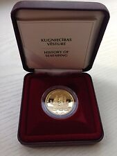 "History of Seafaring, Latvia gold coin Proof, Frigate ""Gekrönte Ehlendt"""