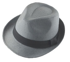 Charcoal Gray Basic Fedora Hat Cap with Black Band-xxl-2xl-62cm(#127)