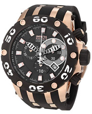 NWOT Men's Invicta 0918 Reserve Specialty Black Poly Rose Gold Chronograph Dial