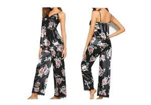 Ladies Satin Pyjamas Floral Collarless Cami Strappy Vest Sleevless Long *NEW*