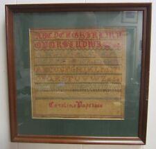 19c Sampler 1866 Caroline Pape framed alphabet numbers sm decorative art designs