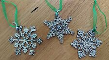3 handcrafted snowflake christmas tree decorations pyrography glitter wood