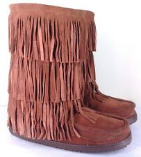 Manitobah Mukluks Women's 11 12 Buffalo Dancer Suede Leather Fringe Boots