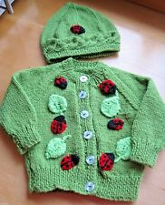 HAND KNITTED SPRING LADYBIRD CARDIGAN + HAT. Age 0-3M. SUPER GIFT IDEA