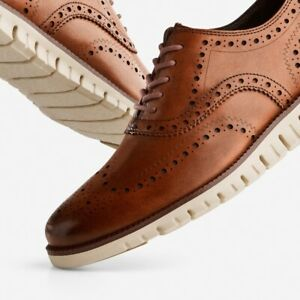 NIB Men's Cole Haan Zerogrand Wingtip Oxford British Tan C14493 Shoes Size 14 M