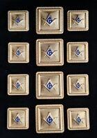 Blazer Jacket button set square S&C gold plated enamel Masonic Freemasonry