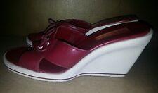 Anne Klein women's red leather platform sandals sz 8 wedges white heel shoes