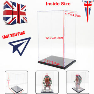 UK Perspex Acrylic Display Case 31cm H Box Plastic Base Dustproof Figure Trophy
