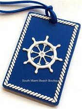 2 Tag Lot Blue Ships Wheel Helm Nautical Luggage Tags ID Purse Backpack Bag