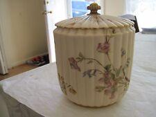 Vintage 19 C Royal Worcester Floral Decoration Covered Biscuit Jar