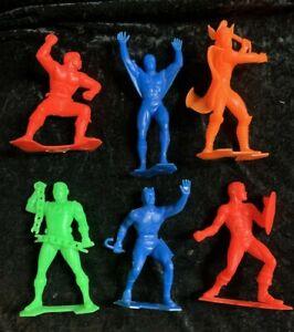 """Vintage set 6 marx Marvel comics group superhero 5-6"""" figures 1967"""