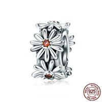New 925 Sterling Silver Daisy Flower CZ Spacer Charm Beads fit Original Bracelet
