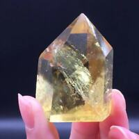Precious Natural Citrine Quartz Crystal Hexagonal Wand Point Reiki Healing 1Pc