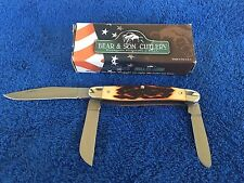 65014 Forney Bear and Son Stag Delrin 3-Blade Large Stockman Knife (C205)