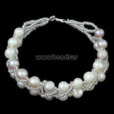 """Women Fashion Natural Freshwater Pearl Glass Seed Beads Charm Bracelet 7"""""""