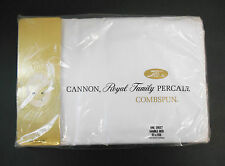 Vintage Cannon Royal Family White Percale Combspun Full Flat Sheet