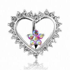 Piercing de Ombligo Placa Corazón Flores Con Circonia Cristales Transparente /