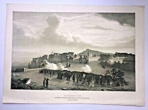CONSTANTINE ALGERIA 1850 by JULES RIGO LARGE ANTIQUE LITHOGRAPHIC VIEW