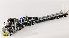 KENWORTH T909 with DRAKE 2x8 DOLLY & 4x8 LOWLOADER - BLACK / 1:50 Scale
