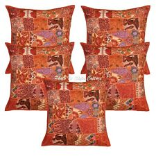 Decorative Cotton Pillow Covers 24x24 Vintage Patchwork Boho Couch Cushion Cover