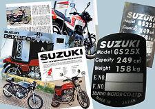 NEW ENTRY SUZUKI GS25X 250 ccm DATA PLATE TYPENSHILD curved, not straight