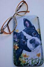 BOSTON TERRIER DOG NEOPRENE GLASS CASE POUCH PRINT SANDRA COEN ARTIST DESIGN