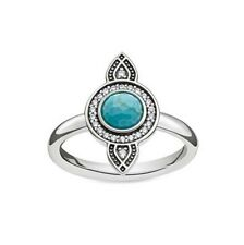 Genuine Thomas Sabo Sterling Silver Dreamcatcher Turquoise Ring Size 54 RRP$139