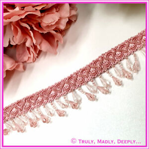 Lace Trim with Crystal Tear Drop Beads - Sold Per Metre