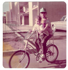 SquareVINTAGE 70s PHOTO Pair Boys Brothers Riding Bike Bicycle