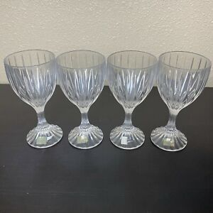 """Mikasa PARK LANE Lead Crystal Water Goblet 6 3/4"""" Set Of 4 Discontinued"""