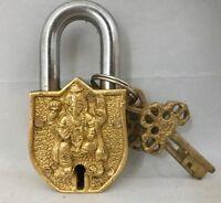 Brass Ganesha Padlock Elephant Lock key OM OHM antique look Good Luck india