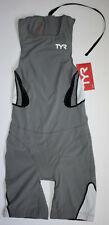 Tyr Men's Xs Grey Black White Zipper Back Tri Short John Kneeskin Carbon New