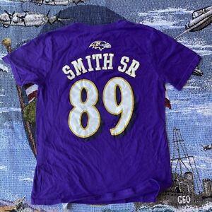 Youth Medium Steve Smith Sr. Baltimore Ravens #89 Short Sleeve Purple T-Shirt